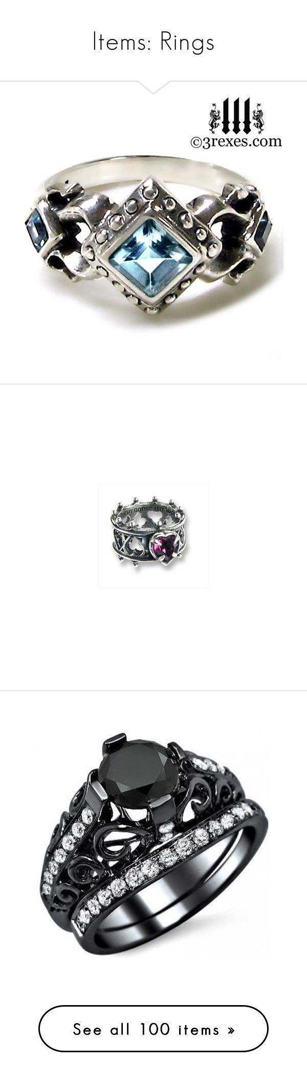 """""""Items: Rings"""" by stephyroth ❤ liked on Polyvore featuring jewelry, rings, accessories, green wedding rings, blue topaz wedding rings, silver rings, green engagement rings, silver wedding rings, goth and gothic rings"""
