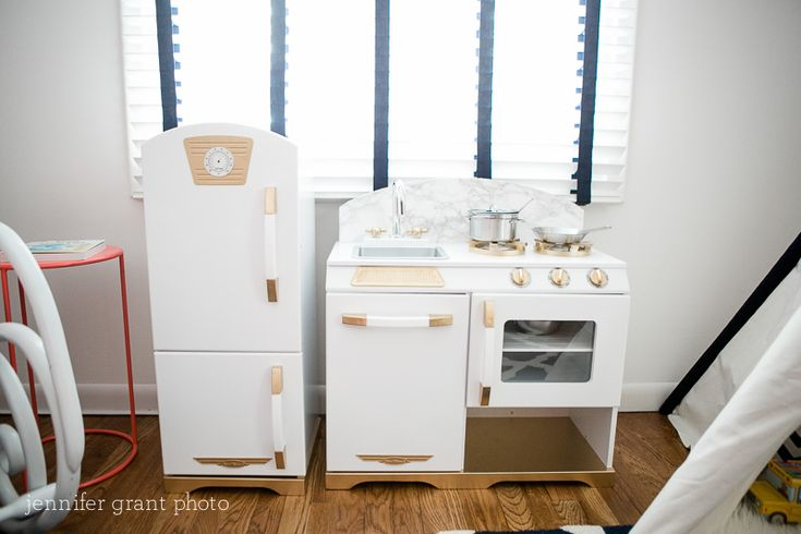 Project Nursery - Kid Kraft Kitchen with Painted Gold Accents