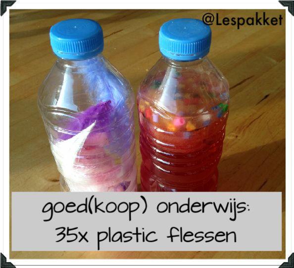 goed(koop) onderwijs - 35x plastic flessen - jufBianca.nl - rekenen - lezen - schrijven - ontdekken - zandtafel - watertafel - knutselen