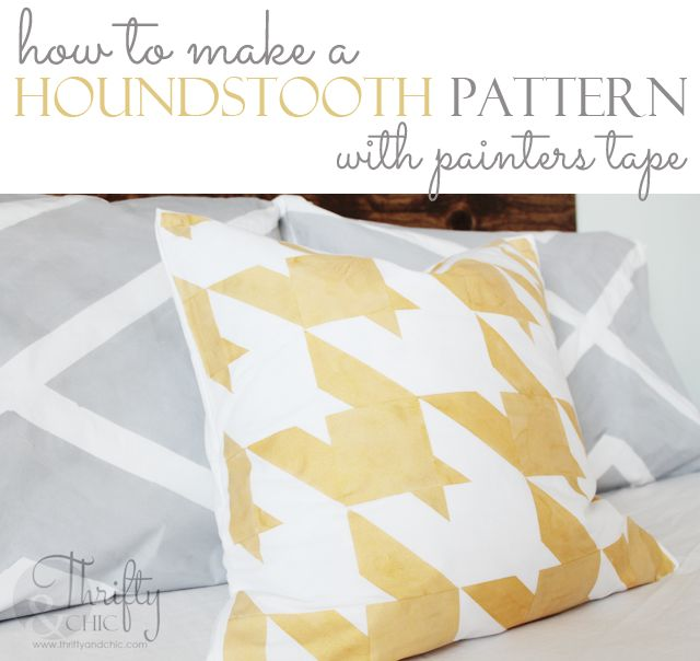 How to make any size houndstooth pattern using just painters tape! No stencil required!