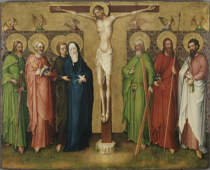 Crucifixion: Christ on the Cross, Mary and the Apostles James the Great, Peter, John, Andrew, Thomas and Bartholomew // 1430-1440 // Master of the Heisterbach Altarpiece (with Stefan Lochner) // Alte Pinakothek