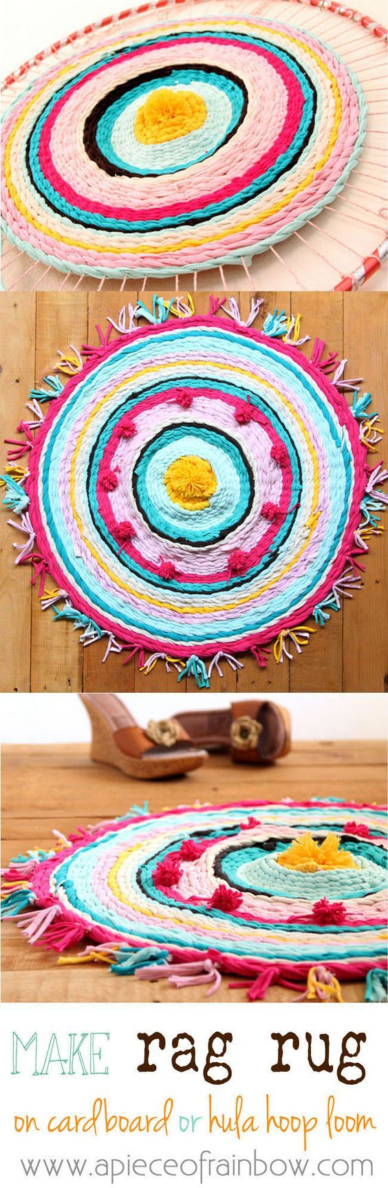 Really fun and detailed tutorial on how to make rag rug from old t-shirts, and how to weave beautiful rugs on a cardboard loom or hula hoop loom!A Piece Of Rainbow: