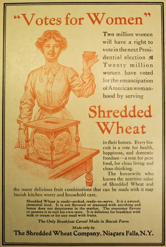 best women s suffrage images women rights  1913 women s suffrage ad votes for women voting rights from shredded wheat heavy handed usurping of a political cause