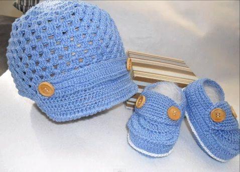 Boina e Sapatinho de Bebê em Crochê - Passo a Passo