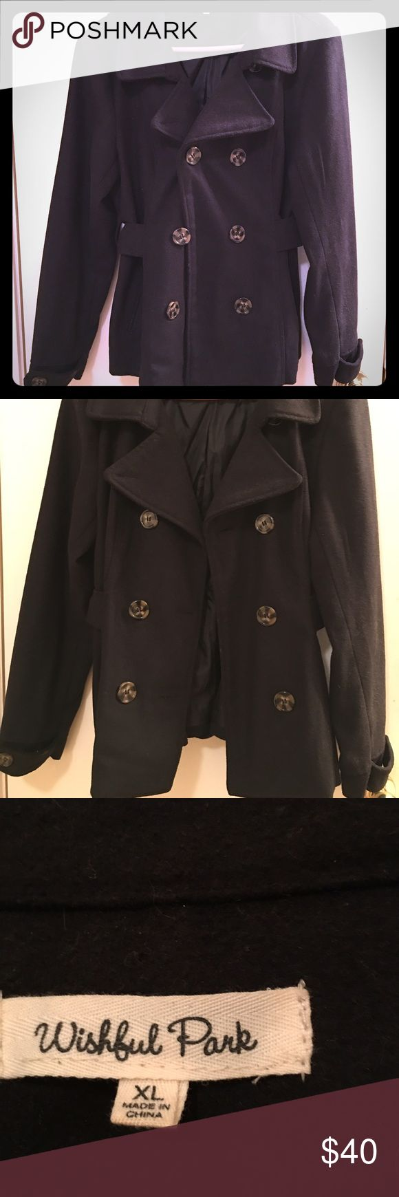 Black Pea Coat **Like New** Black pea coat in excellent (like new) condition. Bought brand new at the end of last winter and worn only a few times.  Doesn't fit me this season.  Brand is Wishful Park. 100% Polyester. Jackets & Coats Pea Coats