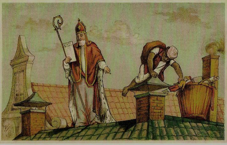 uit Groot Sinterklaasboek - op het dak, van F.G. Bos ca.1886