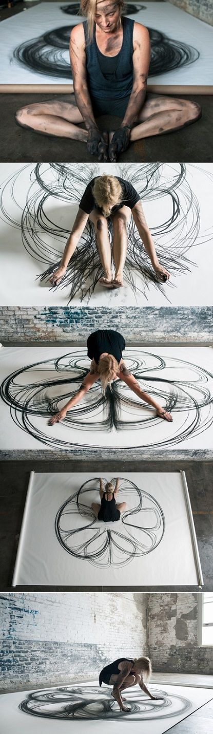 "LA, New Orleans-based Artist Heather Hansen - ""Emptying Gestures is an experiment in kinetic drawing. In this series, I am searching for ways to download my movement directly onto paper, emptying gestures from one form to another and creating something new in the process."""