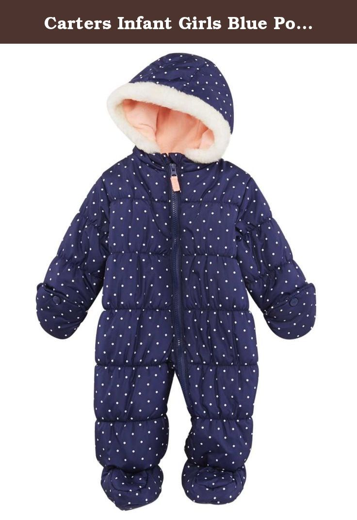 Carters Infant Girls Blue Polka Dot Snowsuit Baby Bunting Pram Snow Suit. This darling blue polka dot snowsuit will keep her cozy & warm on those cold winter days! Infant girl's sizes Attached hood & slipper feet Convertible mittens Faux fur trim hood Zipper front with safety tab 100% Polyester Water Resistant Brand: Carters .
