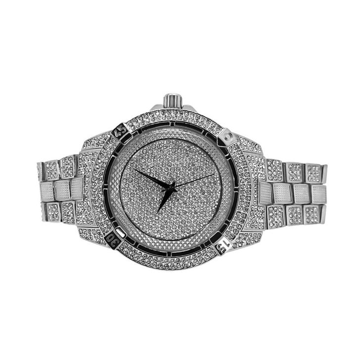 Pilot style bling bling watch set with matching bracelet.  Shine up both wrists in style with this hip hop watch and bracelet set.  Rhodium plated and covered in faux diamonds.  Order your bling bling set today.