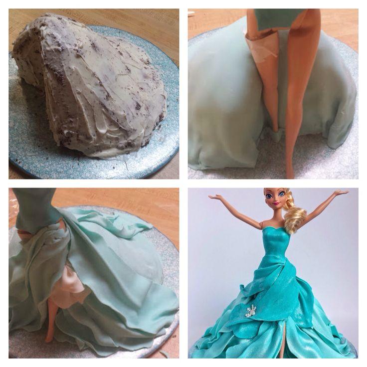 Elsa cake tutorial, frozen cake, Olaf cake, Disney frozen cake, doll cake, fondant cake, Elsa doll, Elsa cake, Elsa, Olaf, Disney.