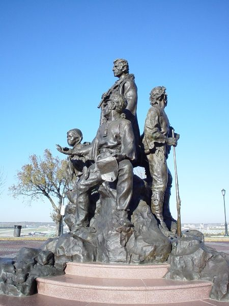 """Lewis and Clark sculpture at Clark's Point- Case Park in Kansas City, MO  When Lewis and Clark stopped at this spot on September 15, 1806, atop a  high bluff with a sweeping view of the Missouri River Valley, they noted that the site offered a """"commanding situation for a fort.""""  611 W 8th St,"""