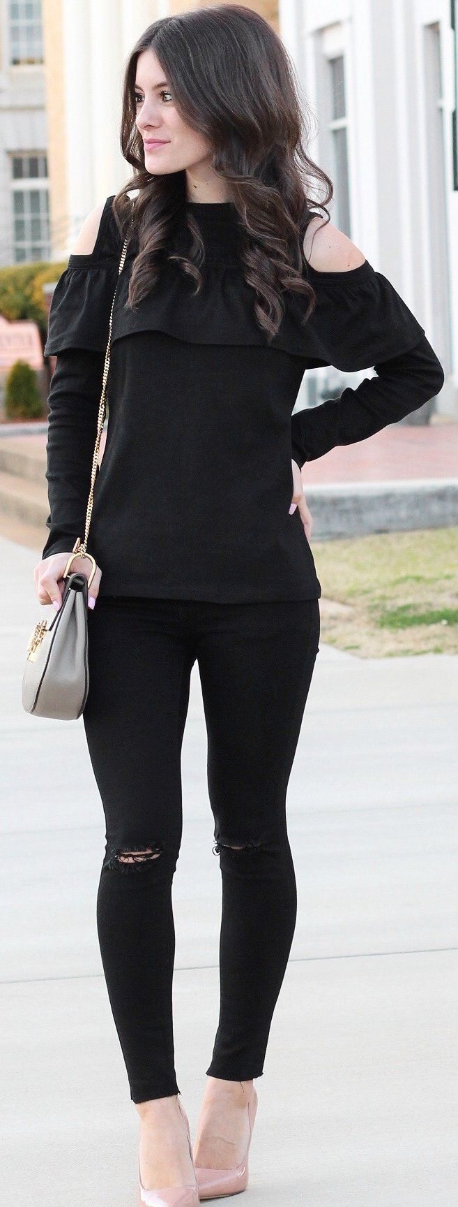 Black Open Shoulder Knit / Nude Pumps / Rippped Skinny Jeans