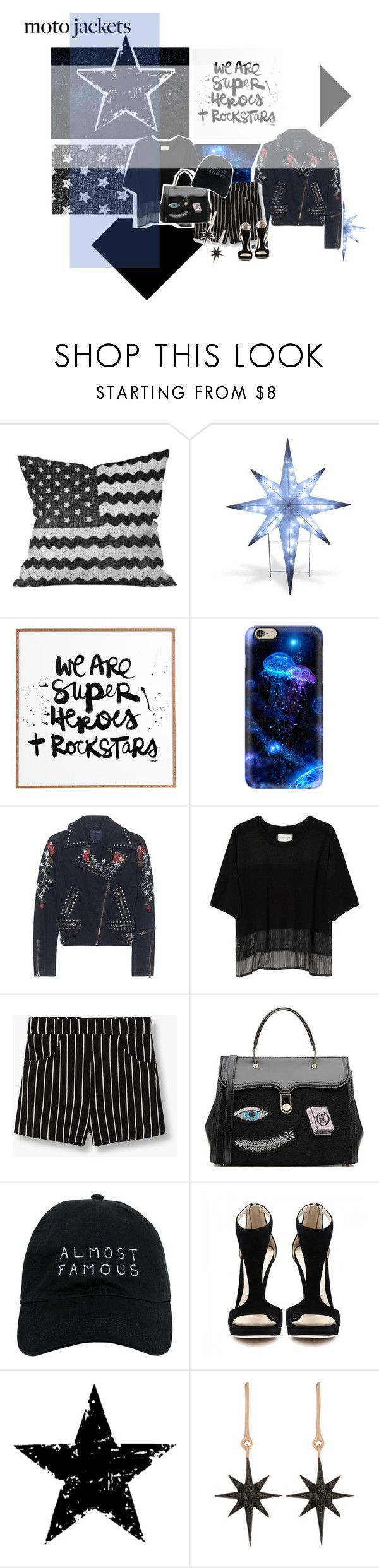 """After Dark: Moto Jackets Contest Entry"" by rose-dujour ❤ liked on Polyvore featuring Dot & Bo, National Tree Company, DENY Designs, Casetify, True Religion, Public School, MANGO, Olympia Le-Tan, Nasaseasons and Tim Holtz"