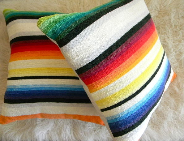 vintage terry cloth towel colorful stripe pillow cover 16x16.