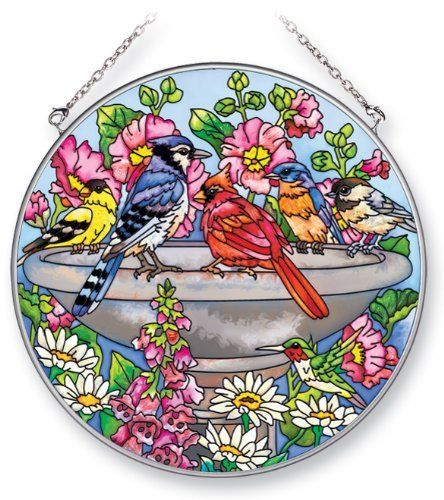 Amia Suncatcher Featuring Birds in a Birdbath, Hand Painted Glass, 6-1/2-Inch Circle by Amia. $22.00. Comes boxed, makes for a great gift as well. Handpainted glass. Includes chain. Enjoy this beautiful, handpainted glass suncatcher by Amia. Includes chain for hanging purposes.