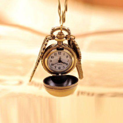CuteEdison® Inspiriert von Harry Potter, Goldenen Schnatz Doppel Flügel Hängende Taschen Uhr Halskette in Geschenkkarton: 15€