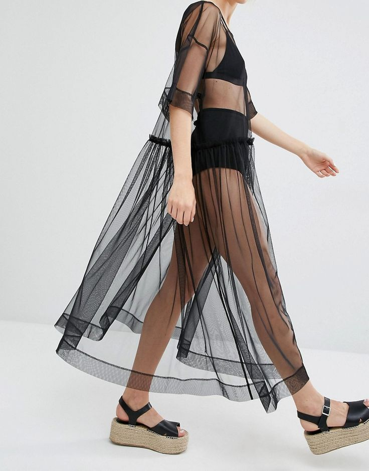 Image 3 of Monki Sheer Mesh Dress