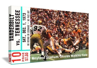 Football Art. Vintage Football Art. Canvas Football Art. College football art. Tennessee Football Art. Canvas Sports Art. Tennessee football gifts. Vintage sports art. 1973 Vanderbilt vs. Tennessee Football Ticket Art.