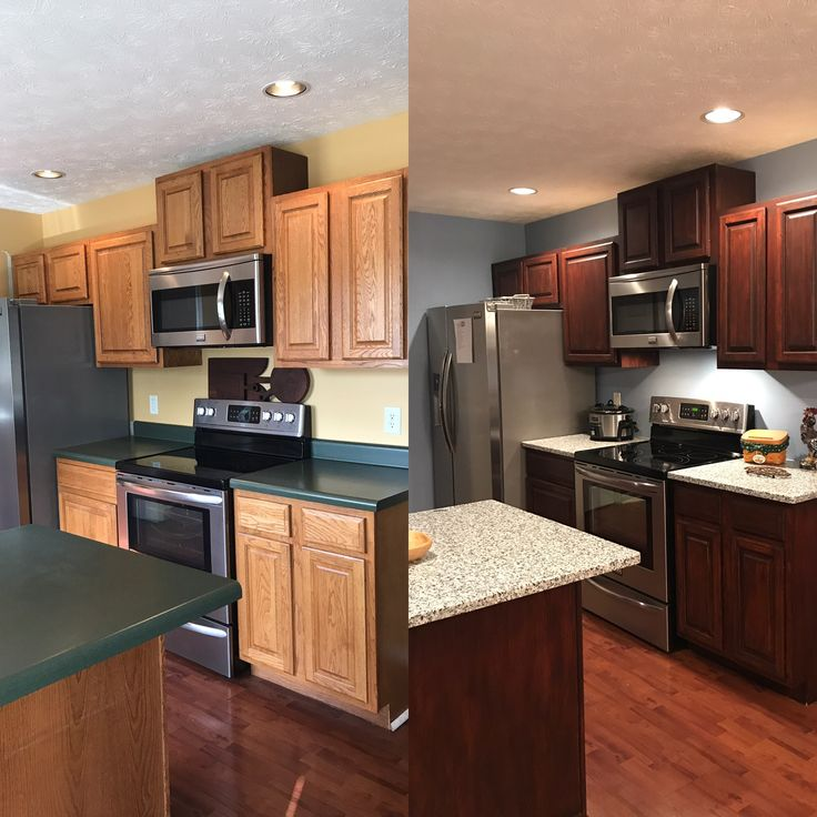 Kitchen Colors With Mahogany Cabinets: Our Before And After Kitchen. General Finishes Gel Stain In Brown Mahogany, New Paint And