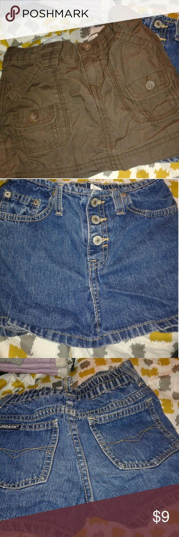 Skirt and shorts girls size 6 Jordache shorts Blue denim Size 6 And  Old navy Cargo skirt Brown color Size 6 Both good used condition Belt loop on shorts loose at rear Old Navy Bottoms Skirts