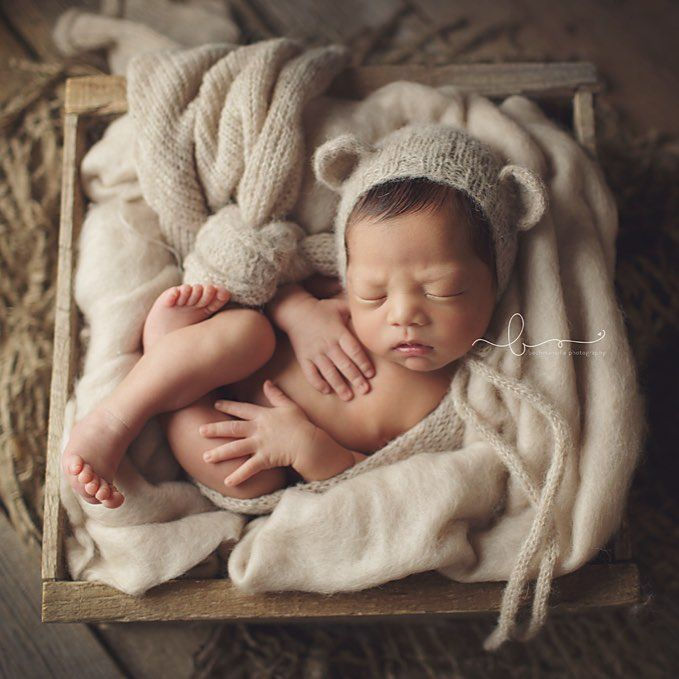 Baby in crate neutrals bear bonnet · bucketbearshallownewborn photosphoto