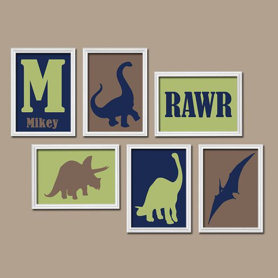DINOSAUR Dino Rawr Quote Custom Personalized BOY Name Monogram Initial Flower Set of 6 Prints WALL Art Gallery Child Baby Nursery Decor