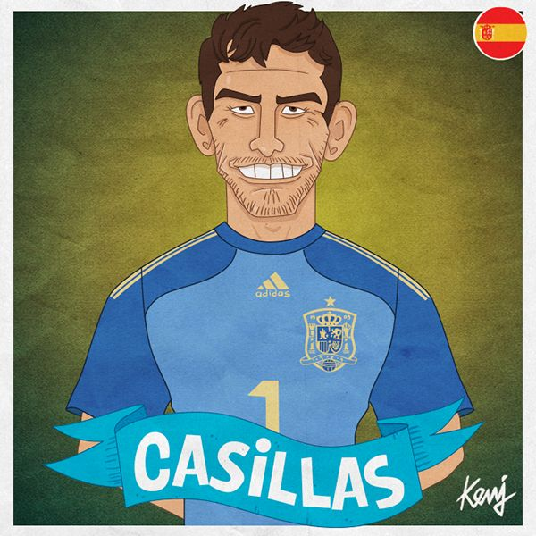 Worldcup 2014 caricatures - Spain by Keuj Bardoux, via Behance