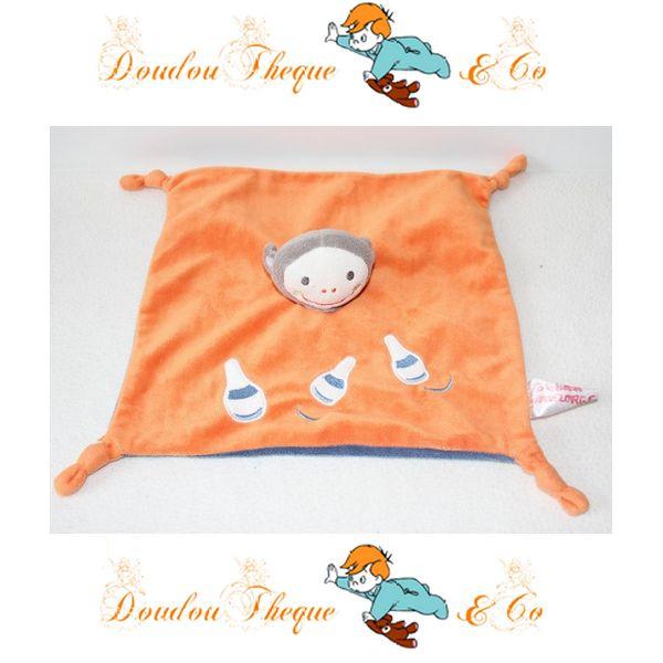 Doudou plat Singe KIABI JOGYSTAR quilles orange bleu 4 noeuds