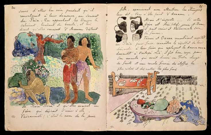 "Pages from Gauguin's journal ""Ancien culte Mahori"""