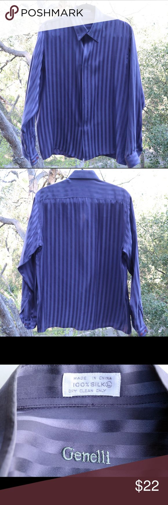 Genelli men's silk shirt This purple-colored 100% silk shirt by Genelli is light weight and elegant. Disclaimer: something chewed the base of the sleeve as pictured, which accounts for the bargain price Genelli Shirts Dress Shirts