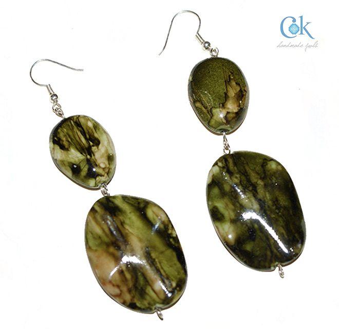 Double green rock like earrings (278)