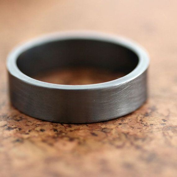 Men's Silver Wedding Band, 6mm Wide, Simple Flat Band Recycled Argentium Sterling Silver Ring - Made in Your Size