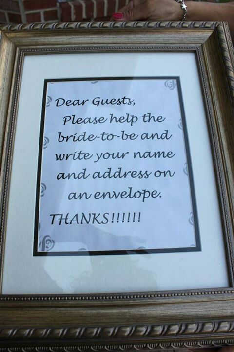 bridal shower i for sure want this. i like this cause you put your address on the envelope