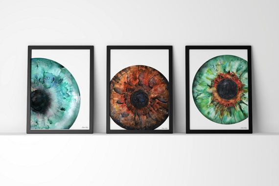 Set of 3 Iris Prints Eye Art Eye Anatomy Optometry by LyonRoad