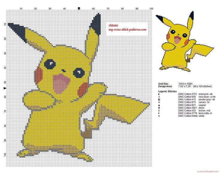Smiling Pikachu Pokemon cross stitch pattern