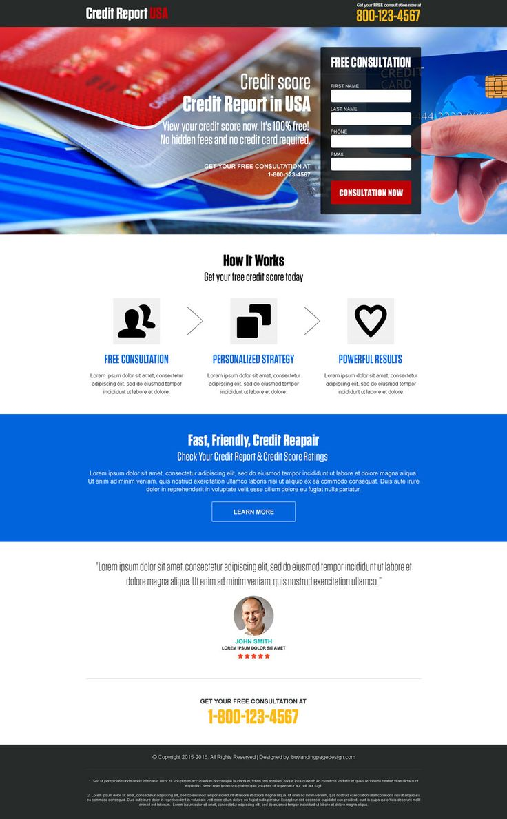 credit report free consultation usa landing page design