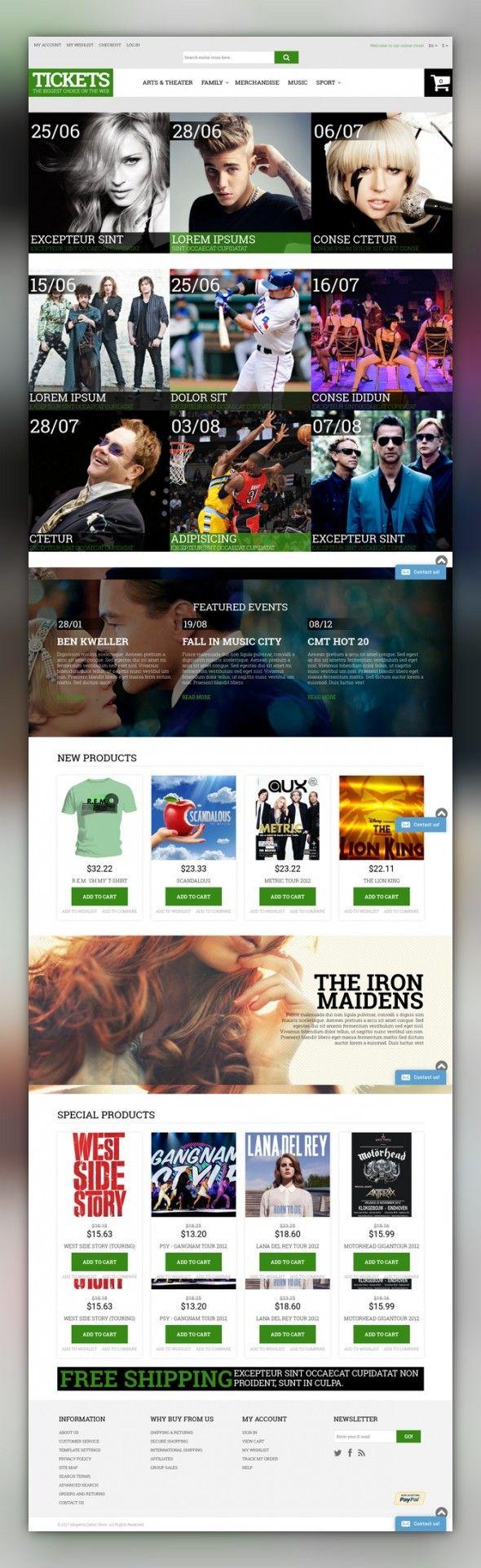 Music Ticket Broker Magento Theme E-commerce Templates, Magento Themes, Entertainment, Games & Nightlife, Entertainment Templates, Tickets Website Templates