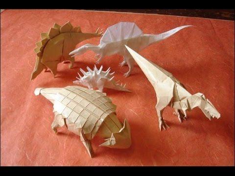 Origami. How to make origami dinosaur. Paper dinosaur - YouTube