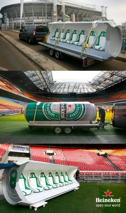 Heinekin bring to life their sports passion point with front row dugout seats in the shape of a beer can