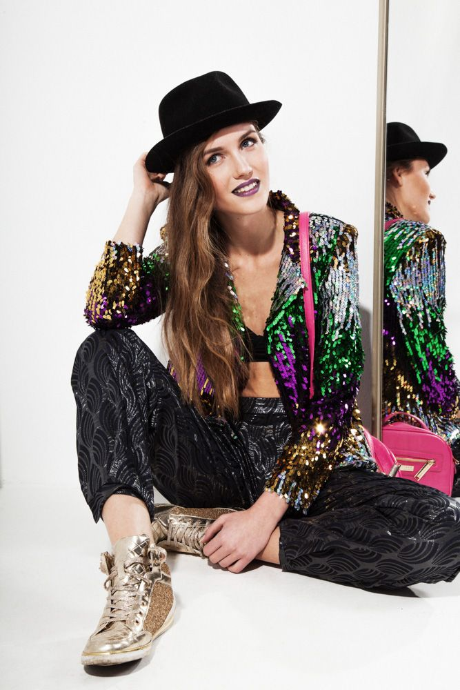 80s style Sequin Jacket,  90s style Trousers