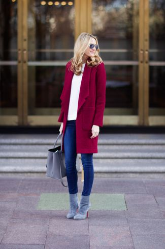 Women's Burgundy Coat, White Crew-neck Sweater, Blue Skinny Jeans, Grey Suede Ankle Boots