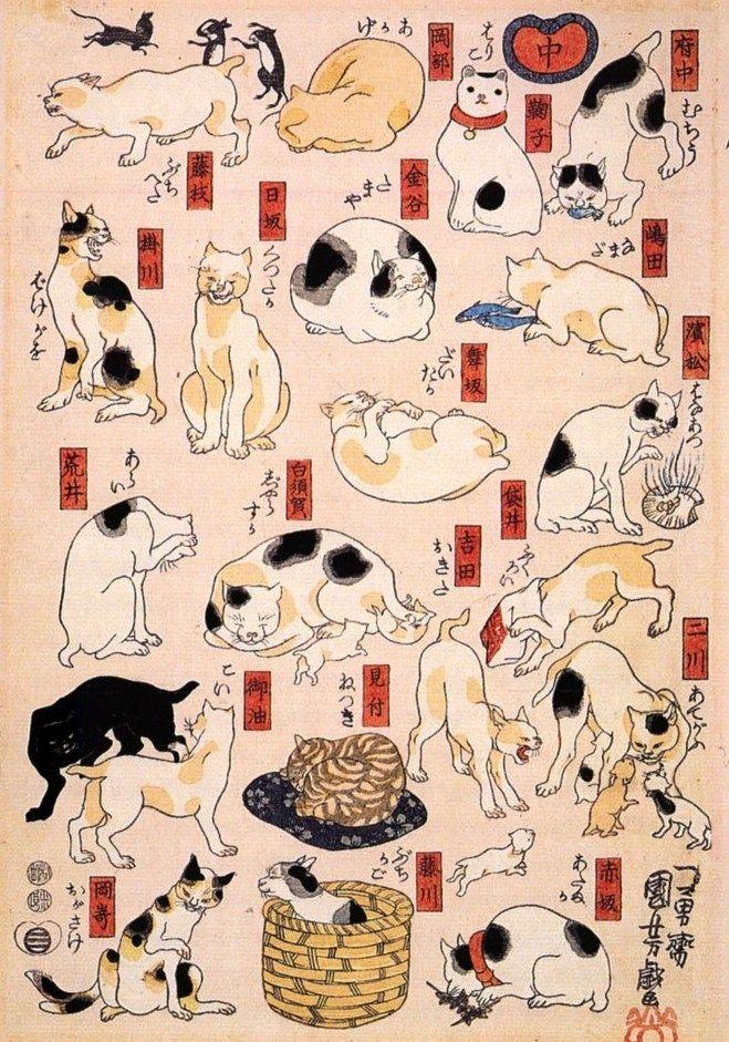 Japanese cats:いいなかわいいし今も昔も変わらんのだね。
