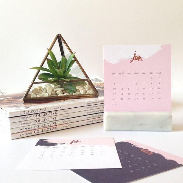 2016 Marble + Copper Foil Desktop Calendar.