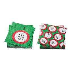 SNÖFINT paper napkin, apple, assorted patterns Length: 24 cm Width: 24 cm Package quantity: 30 pack