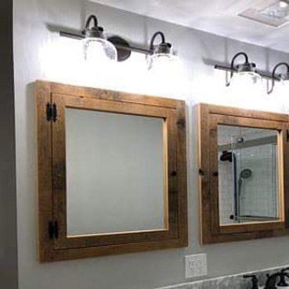 Granaio Rustico Da Incasso Legno Armadietto Con Specchio In Legno