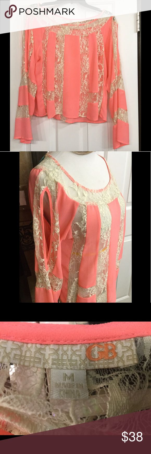 Lace and pink chiffon blouse Bright pink cream lace peek a boo sleeves just adorable can where a lace tube bra from Victoria secret or tank underneath show stopper great colors GB Tops Blouses