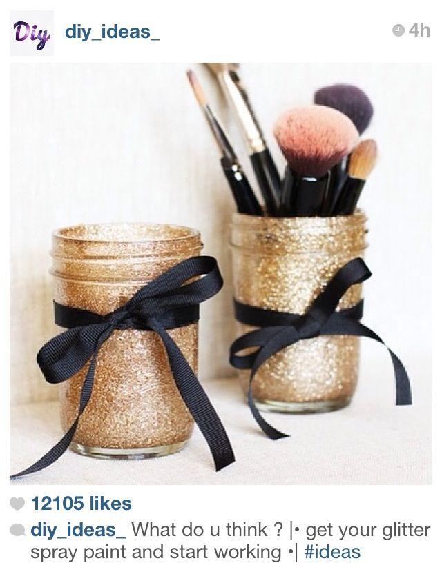 DIY Glitter makeup brush holders!