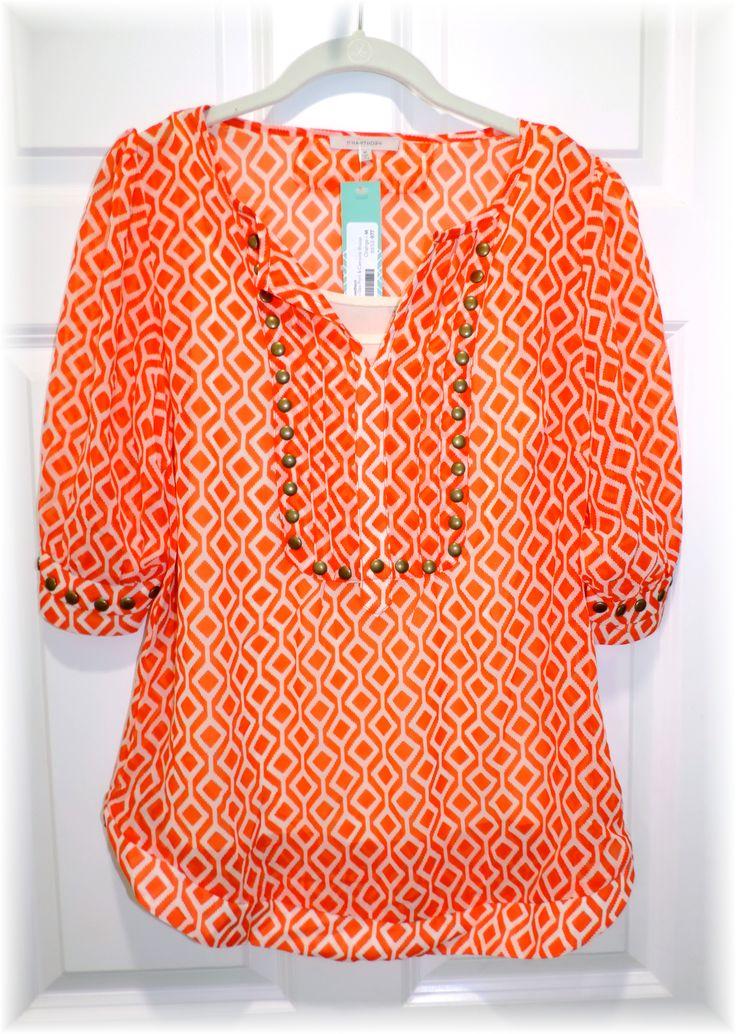 Stitch Fix 1 ~ May 2015 - Moni Geo Print Blouse and Camisole - Bright Orange Top #stitchfix https://tinkernbella.wordpress.com/2015/06/15/hello-world/