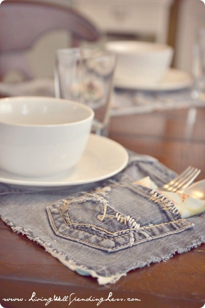 Upcycled Denim Placemats | New Use for Old Jeans | How to Recycle Jeans
