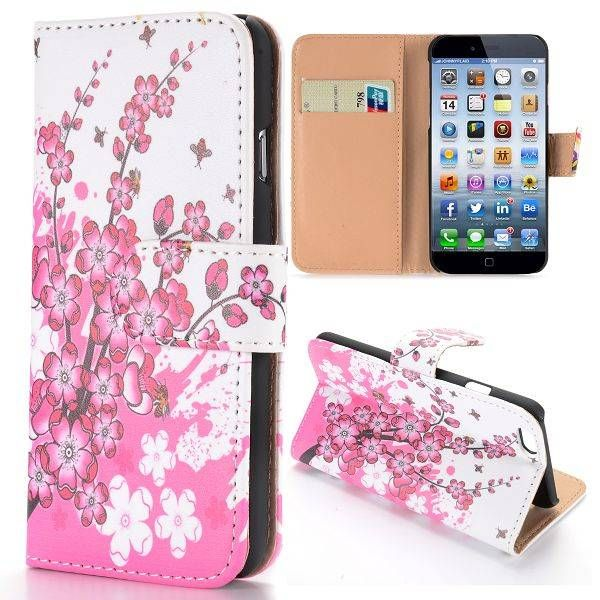 Roze bloesem bookcase hoesje voor iPhone 6